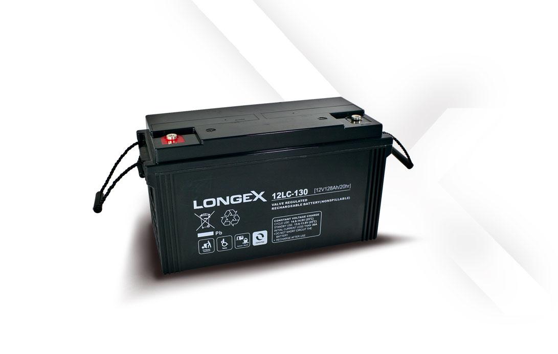 Blei Akku 12LC-130 LONGEX 12LC-130, zyklenfester Blei-Akku (Blei-Vlies / AGM Akku), völlig wartungsfrei und verschlossen durch Ventilregulierung, lageunabhängiger Betrieb möglich, geringe Selbstentladung, Kapazität 130Ah, 12V, Abmessung L407 x B177